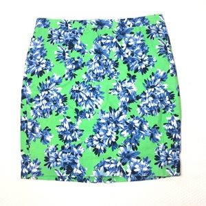 J. Crew Plus Size Floral Pencil Skirt Blue Green